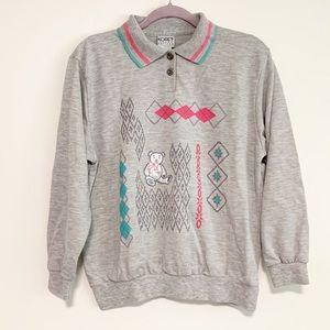 Koret Sport Petites Teddy Bear Collared Sweater